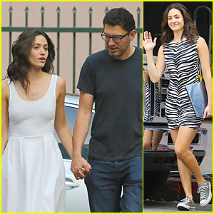 Emmy Rossum & Boyfriend Sam Esmail Display Some PDA on 'Shameless' Set