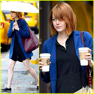 Emma Stone Doesn't Let Rain Keep Her Away from Coffee!