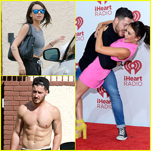 Janel Parrish & Shirtless Val Chmerkovskiy Work On Their Moves!