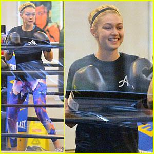 Gigi Hadid Rocks Colorful Leggings For Boxing Workout