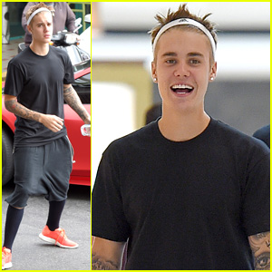 Justin Bieber Wears a Headband to the Mall