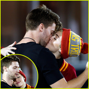 Miley Cyrus Makes Out with Patrick Schwarzenegger at USC Football Game (Photos)