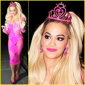 Rita Ora Looks Pretty in Pink as Barbie for Halloween