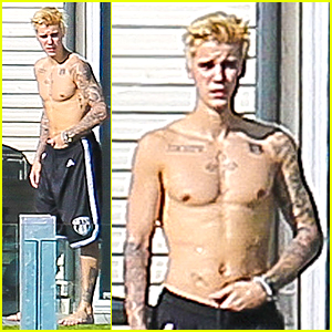 Justin Bieber Shows Off Shirtless Body at Rented Beverly Hills Mansion
