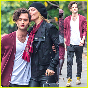 Penn Badgley & Uma Thurman Show Some PDA For 'Slap'