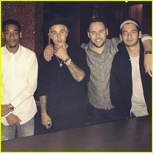 Justin Bieber Celebrates Calvin Klein Collaboration with Scooter Braun & Friends!