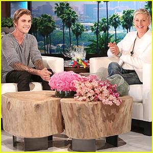 Justin Bieber Looks Happy to Surprise Ellen DeGeneres During Birthday Week