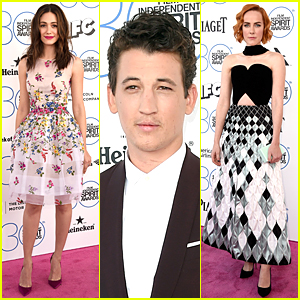 Emmy Rossum & Jena Malone Doll Up at Spirit Awards 2015