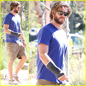 Liam Hemsworth Continues to Sport Cast Right Before Valentine's Day
