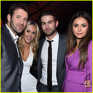 Nina Dobrev Hangs Out with Chace Crawford at DirecTV Super Bowl 2015 Party