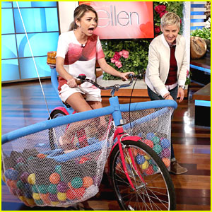 Ellen Makes Sarah Hyland Ride A Bike - See The Pics!
