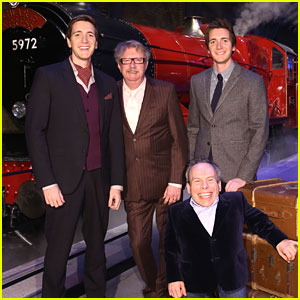 James & Oliver Phelps Reunite With 'Harry Potter' Dad Mark Williams For Hogwarts Express Launch