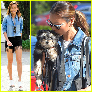 Jamie Chung Takes Ewok To The Park For A Game of Fetch