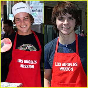 Ryan Sheckler & Joel Courtney Serve Up Meals At LA Mission For Good Friday