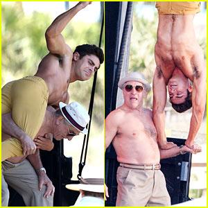 Zac Efron Balances Himself Upside Down on Robert De Niro's Arm!