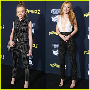 Sabrina Carpenter & Bella Thorne Got The Jumpsuit Memo For 'Pitch Perfect 2' Premiere