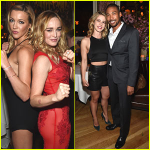 Black & White Canary Reunite! Katie Cassidy & Caity Lotz Party It Up With CW at Upfront Party