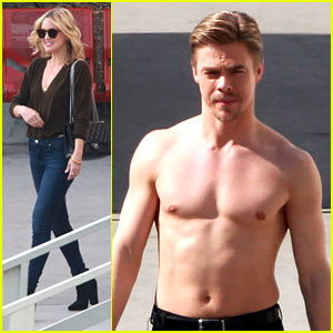 Derek Hough Goes Shirtless, Gets Visit from Kate Hudson!