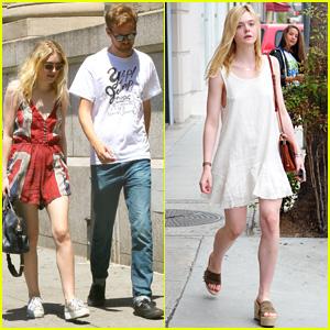 Dakota & Elle Fanning Shop It Up on Separate Coasts