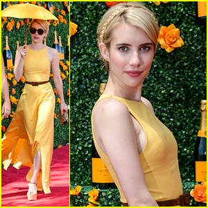 Emma Roberts Wears The Perfect Yellow Dress For Veuve Polo Classic