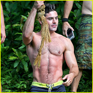 Zac Efron's Shirtless Rope Swing Photos Are Too Hot to Handle!