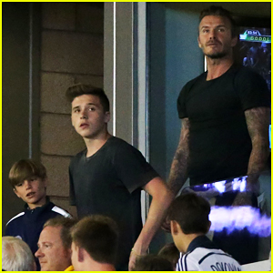 Brooklyn Beckham Joins Dad David & Brothers at LA Galaxy Game!