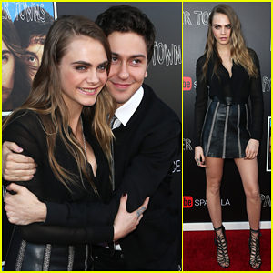 Cara Delevingne & Nat Wolff Have A Cute Carpet Moment at 'Paper Towns' YouTube Event!