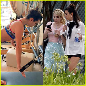 Lea Michele & Emma Roberts Get In Another 'Scream Queens' Set Day!