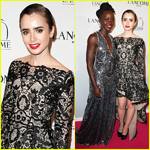 Lily Collins Has 'Remarkable Evening' with Lupita Nyongo at Lancome's 80th Anniversary!