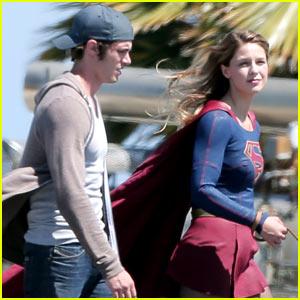 Blake Jenner Visits Wife Melissa Benoist on 'Supergirl' Set!