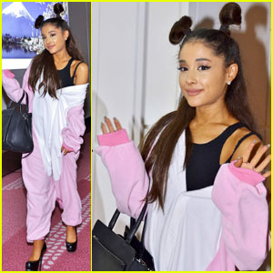 Ariana Grande Sports Top-Knot Pigtails While Touching Down in Tokyo