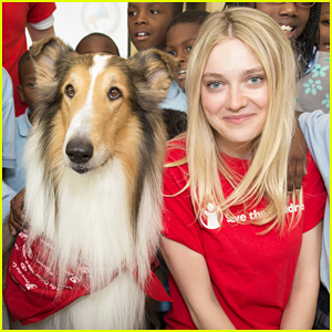 Dakota Fanning Helps Inspire Kids with Lassie at Save The Children's Prep Rally!