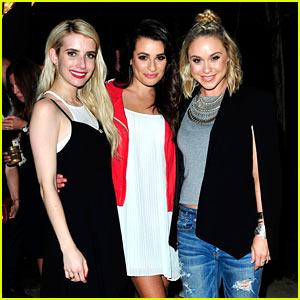 Lea Michele Helps Emma Roberts Celebrate Her Aerie Campaign!