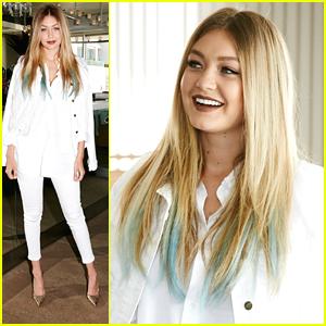 Gigi Hadid Debuts Blue Hair At Guess Blogger Breakfast