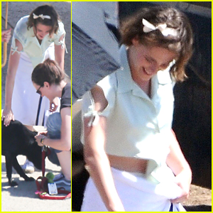Kristen Stewart Plays With A Dog While Filming On Woody Allen Film With Jesse Eisenberg