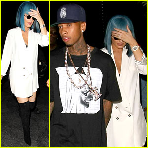 Kylie Jenner Wears Blue Wig at VMAs Party with Tyga