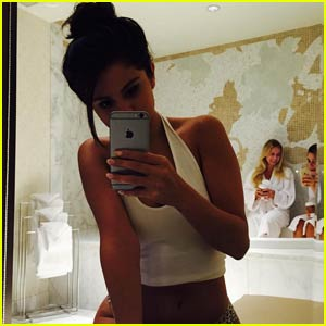 Selena Gomez Sports Animal-Print Underwear in New Bathroom Selfie