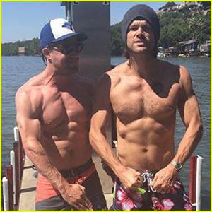 Jared Padalecki & Stephen Amell Go Shirtless & Flex Their Muscles!