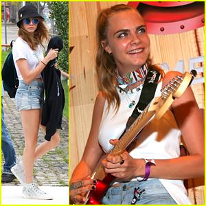 Cara Delevingne Gets Custom Fender Stratocaster In Rio!