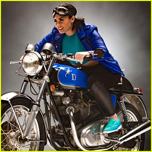 Demi Lovato Rides A Blue Motorcycle On Skechers Campaign Shoot - See The Pics!