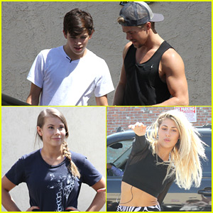 Derek Hough & Emma Slater Grab Yogurt With DWTS Troupe Before Practice with Hayes Grier & Bindi Irwin