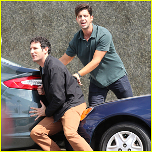 Josh Peck Tries To Push A Parked Car On 'Grandfathered' Set