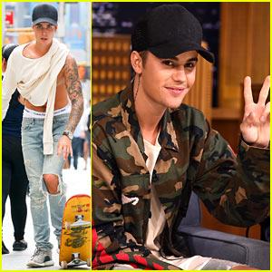 Justin Bieber Shows Off Skateboarding Skills, Tapes 'Fallon' Appearance!