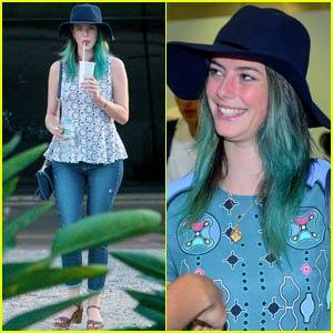 Kaya Scodelario Sports Bright Blue Hair in Brazil
