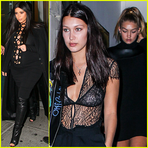 Gigi & Bella Hadid Hang with Kim Kardashian at a Private Dinner