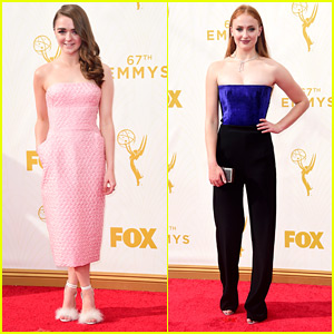 Maisie Williams Is Pretty In Pink At Emmy Awards 2015 With Sophie Turner