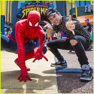 Austin Mahone Chills With Spider-Man At Universal Orlando