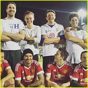 Harry Styles Plays Soccer with Brooklyn Beckham & His Dad David!