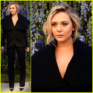 Elizabeth Olsen Covers Up in Black at Dior Show