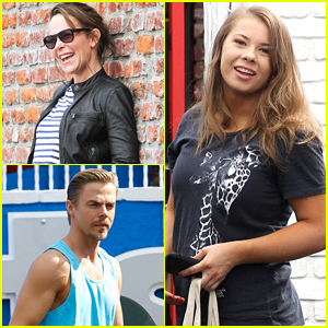 Dirty Dancing's Jennifer Grey Visits Bindi Irwin & Derek Hough at DWTS Practice